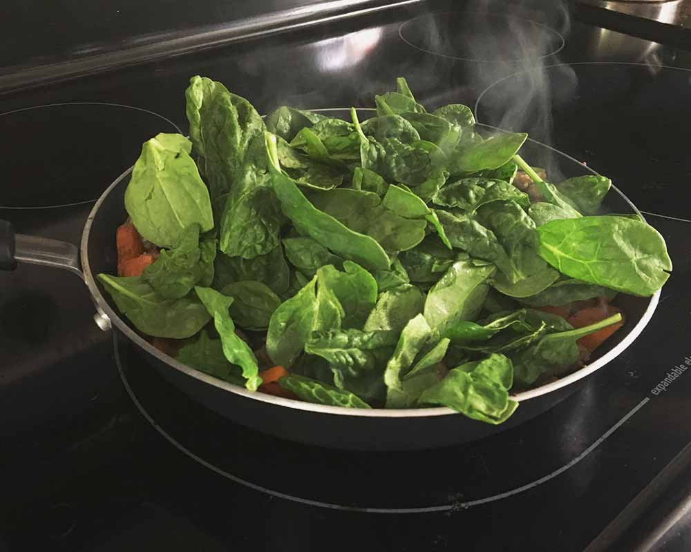 Adding Spinach to skillet