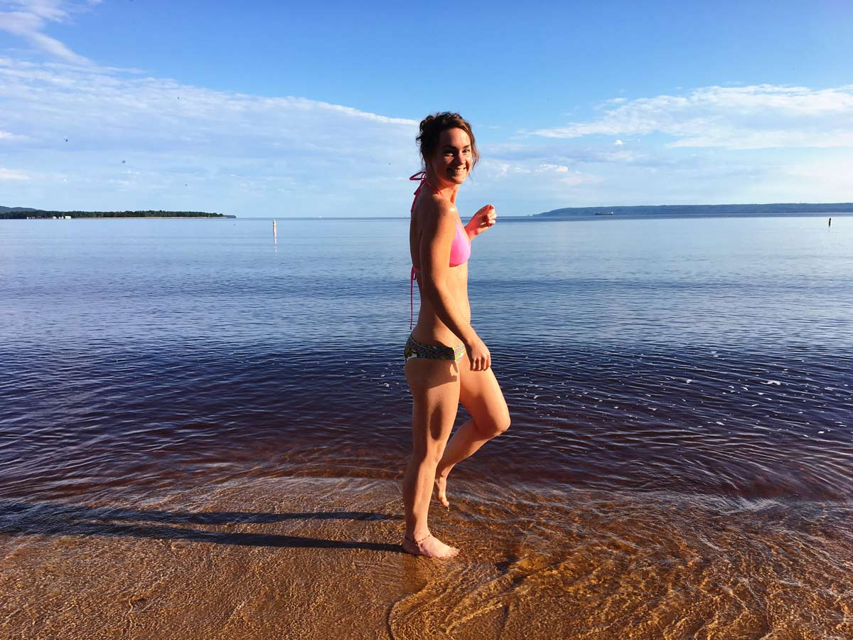 Swimming at Brimley Park Lake Superior